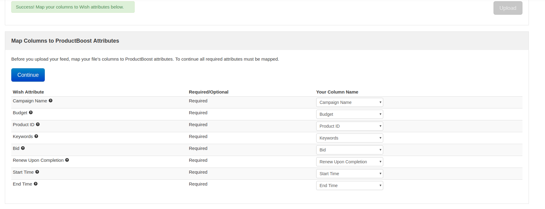 Wish  ProductBoost CSV批量创建活动功能