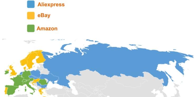 欧洲流行的在线市场每个国家的顶级市场(来自选定的三个)。